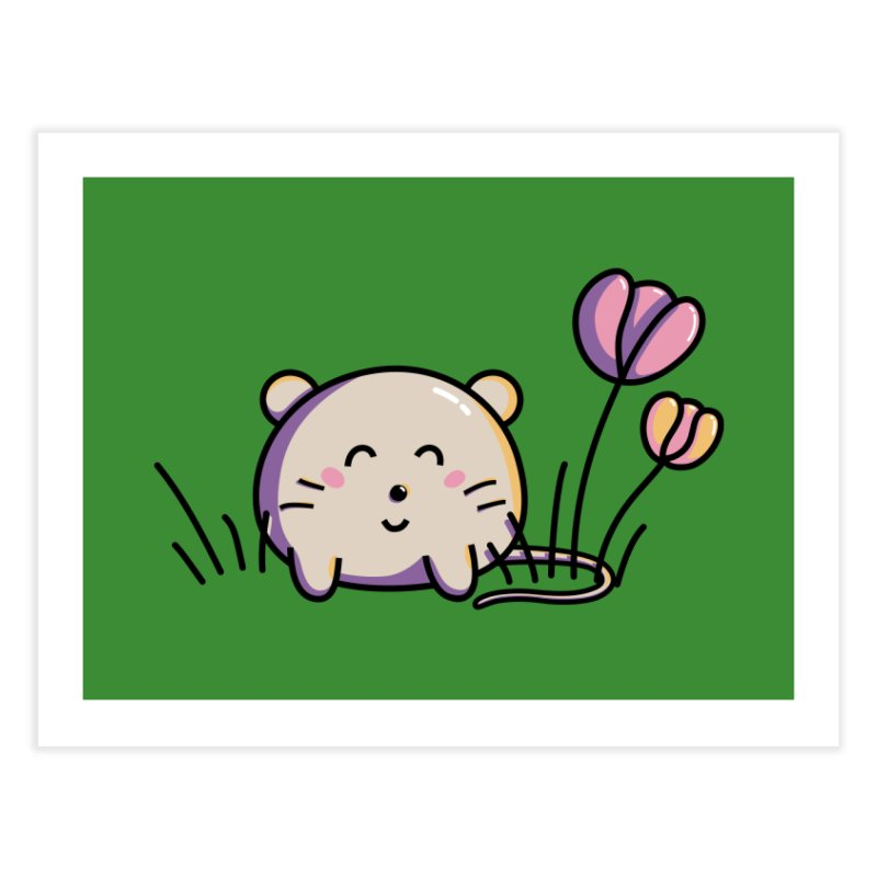 Cute Kawaii Spring Mouse and Flowers Home Fine Art Print by Flaming Imp's Artist Shop
