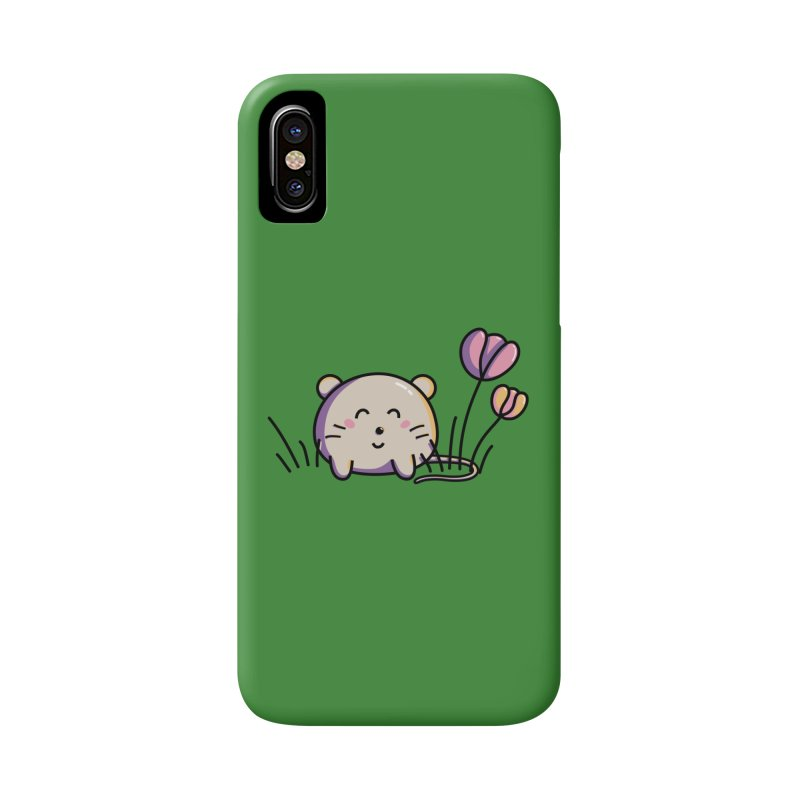 Cute Kawaii Spring Mouse and Flowers Accessories Phone Case by Flaming Imp's Artist Shop