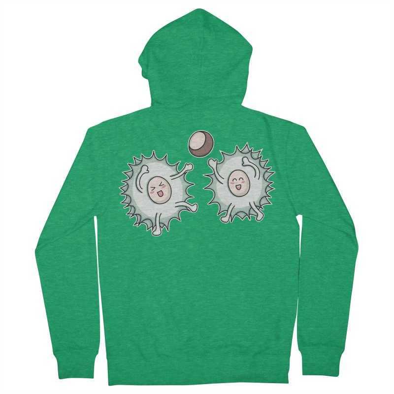 Kawaii Cute Horse Chestnut Playing Fitted Zip-Up Hoody by Flaming Imp's Artist Shop