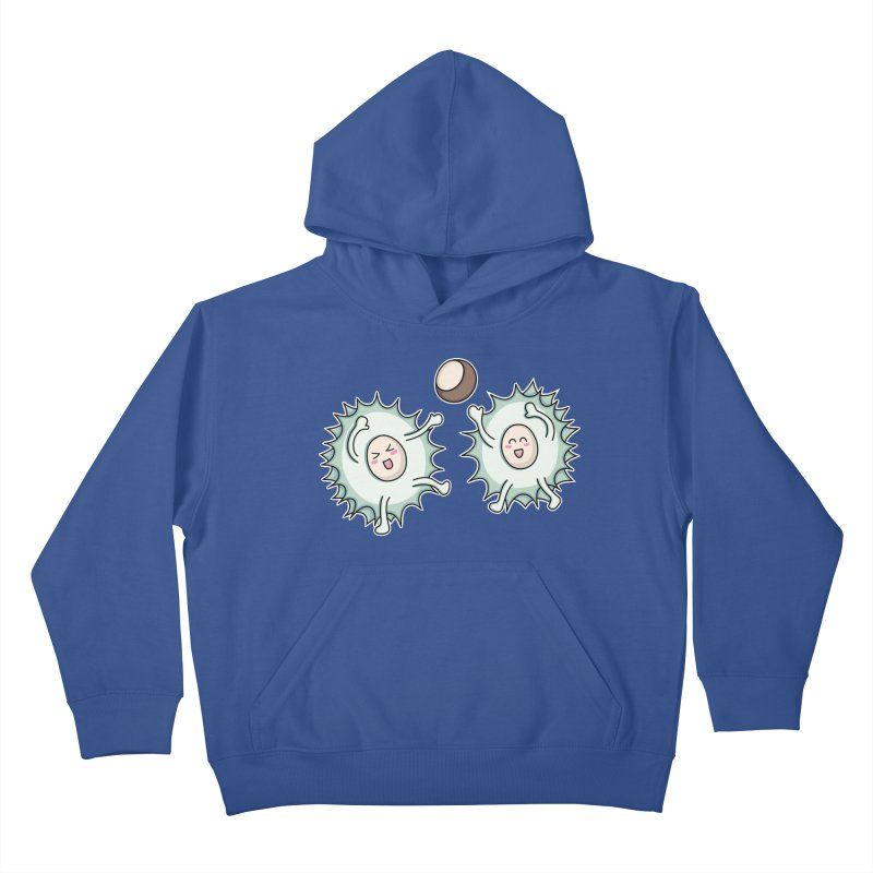 Kawaii Cute Horse Chestnut Playing Kids Pullover Hoody by Flaming Imp's Artist Shop