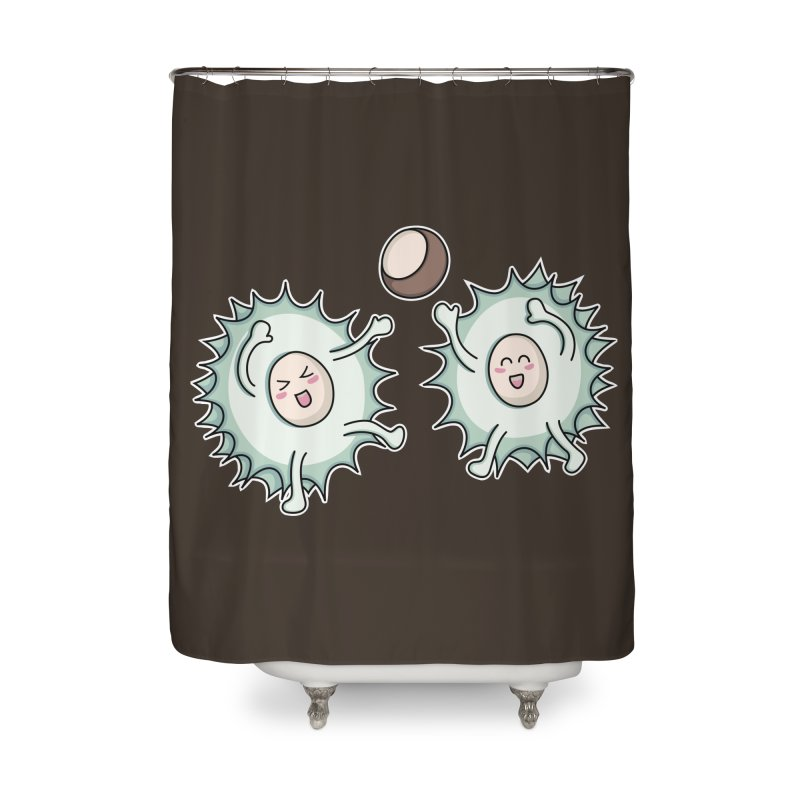 Kawaii Cute Horse Chestnut Playing Home Shower Curtain by Flaming Imp's Artist Shop