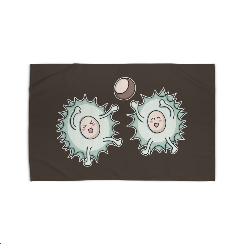 Kawaii Cute Horse Chestnut Playing Home Rug by Flaming Imp's Artist Shop