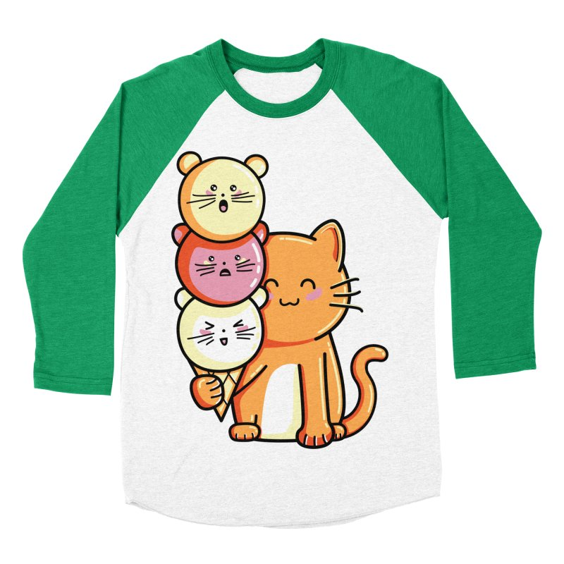 Cat and micecream Men's Baseball Triblend T-Shirt by Flaming Imp's Artist Shop