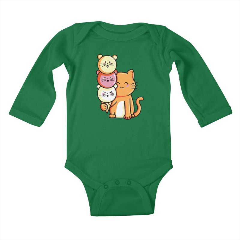 Cat and micecream Kids Baby Longsleeve Bodysuit by Flaming Imp's Artist Shop