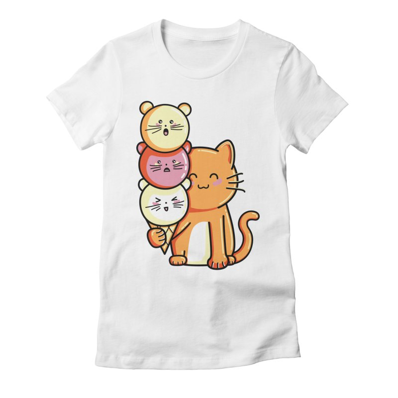 Cat and micecream Women's Fitted T-Shirt by Flaming Imp's Artist Shop
