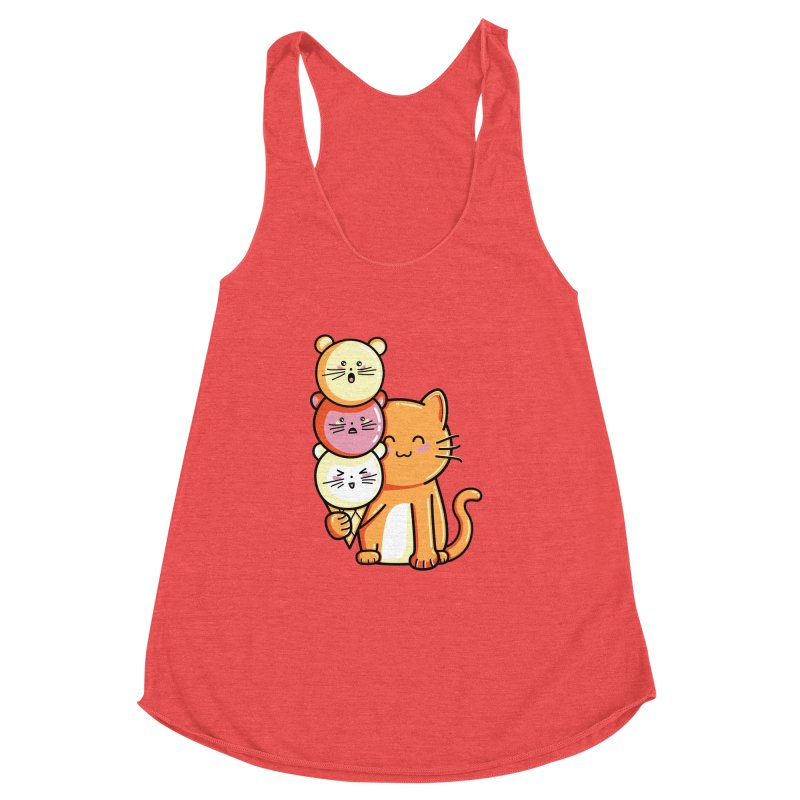 Cat and micecream Women's Racerback Triblend Tank by Flaming Imp's Artist Shop