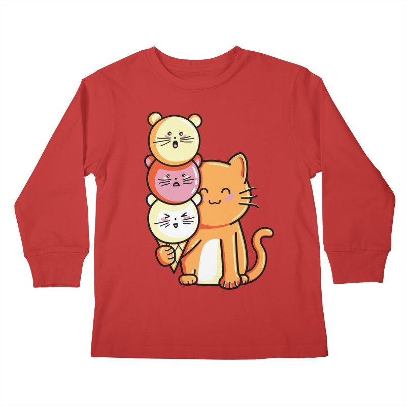 Cat and micecream Kids Longsleeve T-Shirt by Flaming Imp's Artist Shop