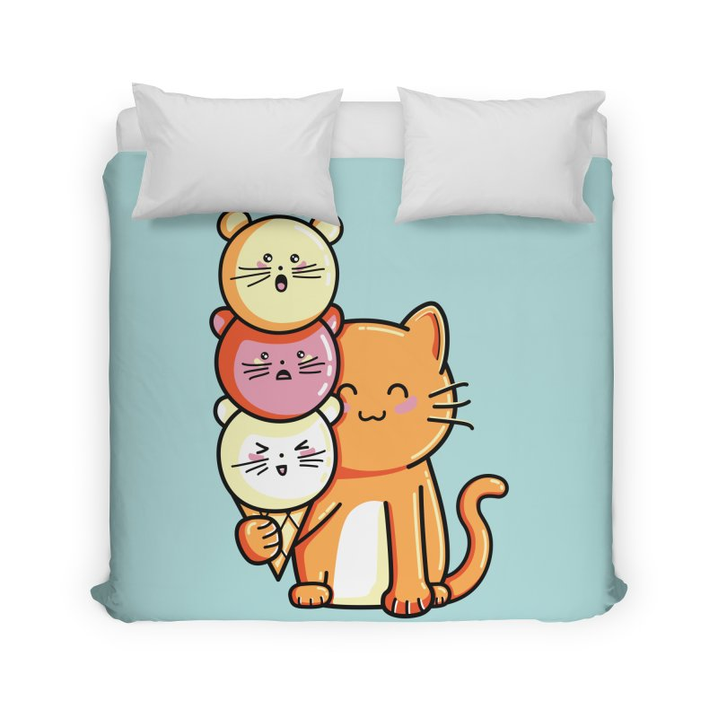 Cat and micecream Home Duvet by Flaming Imp's Artist Shop