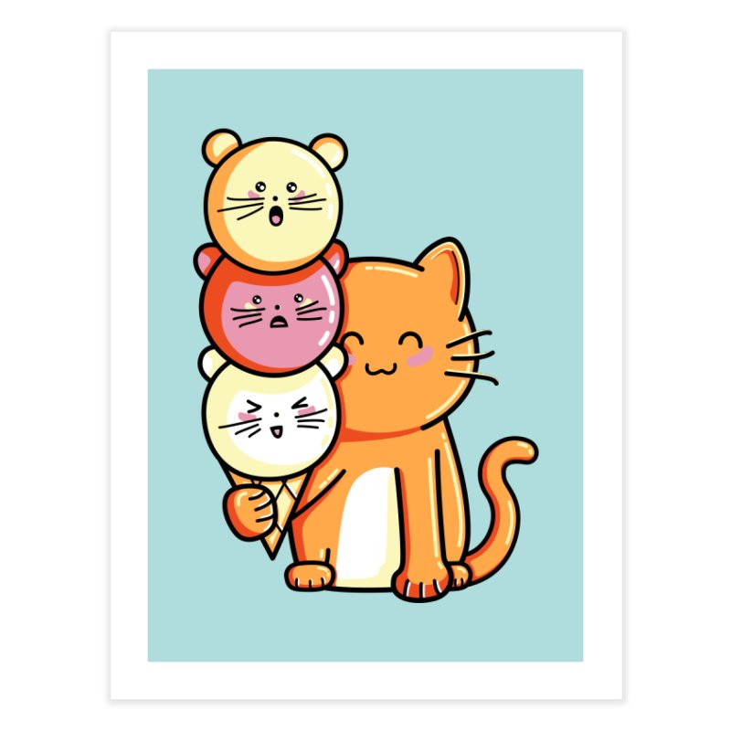 Cat and micecream Home Fine Art Print by Flaming Imp's Artist Shop