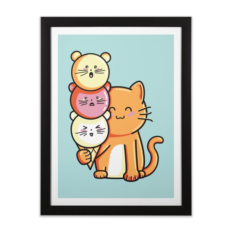 Cat and micecream Home Framed Fine Art Print by Flaming Imp's Artist Shop