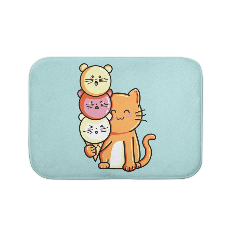 Cat and micecream Home Bath Mat by Flaming Imp's Artist Shop