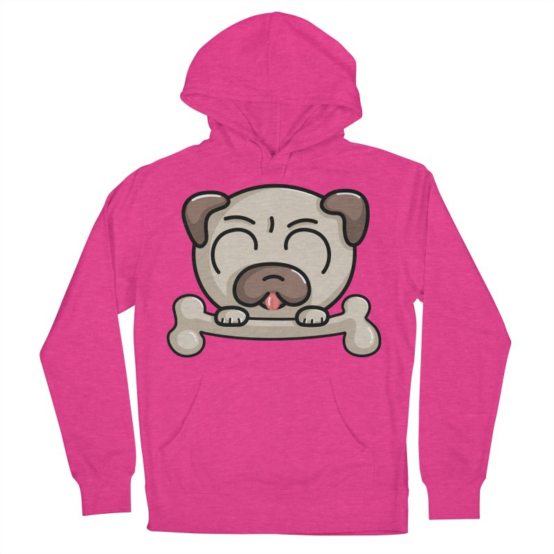 Kawaii Cute Pug Dog Women's French Terry Pullover Hoody by Flaming Imp's Artist Shop