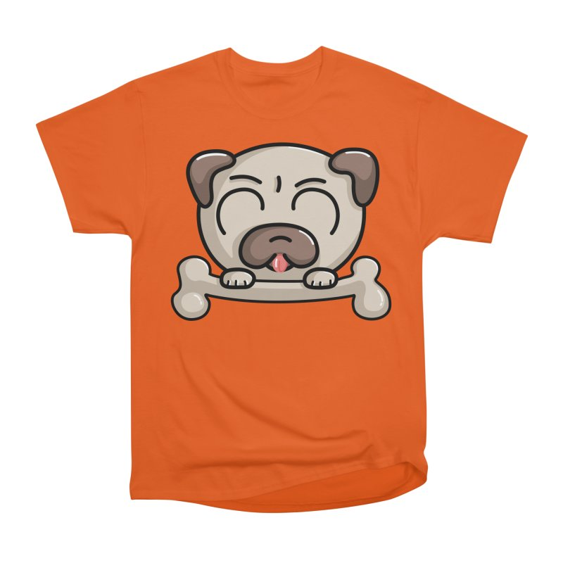 Kawaii Cute Pug Dog Women's Heavyweight Unisex T-Shirt by Flaming Imp's Artist Shop