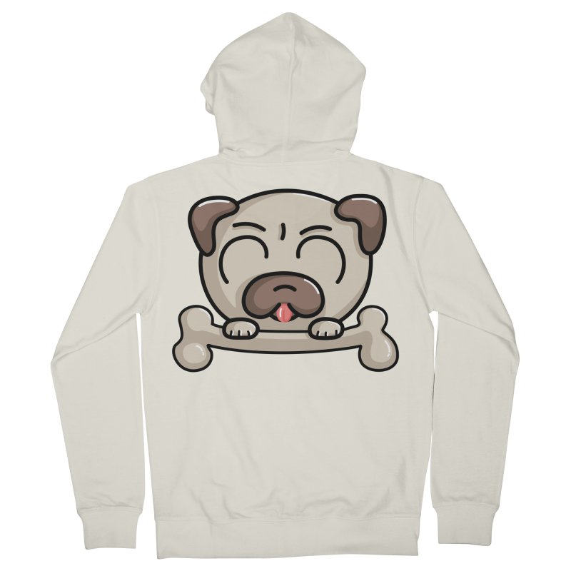 Kawaii Cute Pug Dog Women's Zip-Up Hoody by Flaming Imp's Artist Shop