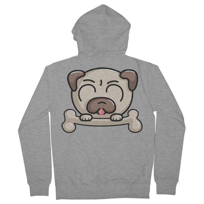 Kawaii Cute Pug Dog Men's French Terry Zip-Up Hoody by Flaming Imp's Artist Shop