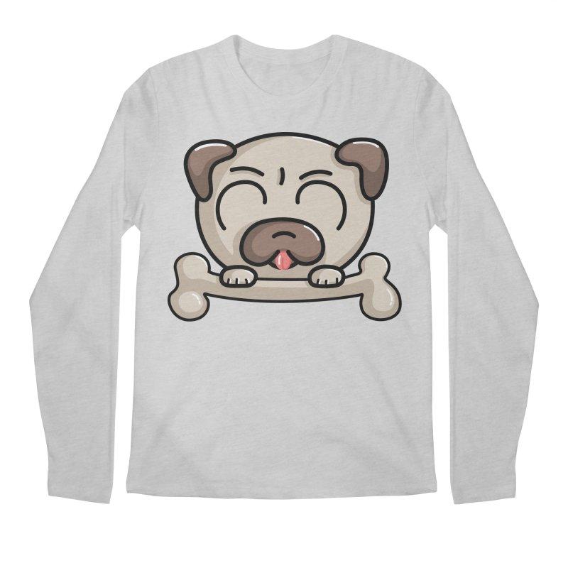 Kawaii Cute Pug Dog Men's Regular Longsleeve T-Shirt by Flaming Imp's Artist Shop