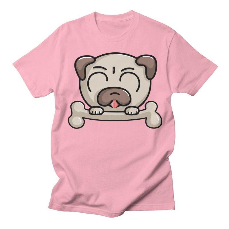 Kawaii Cute Pug Dog Women's Regular Unisex T-Shirt by Flaming Imp's Artist Shop