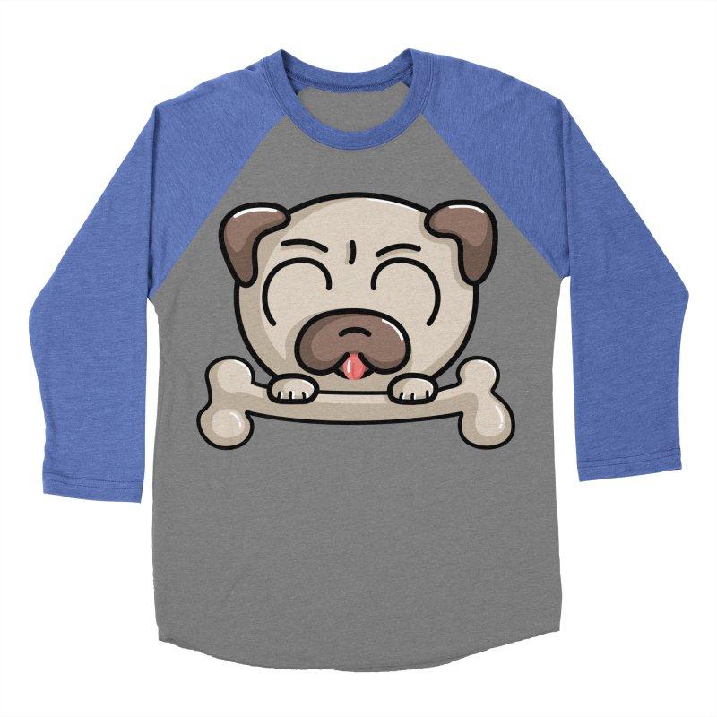 Kawaii Cute Pug Dog Women's Baseball Triblend T-Shirt by Flaming Imp's Artist Shop