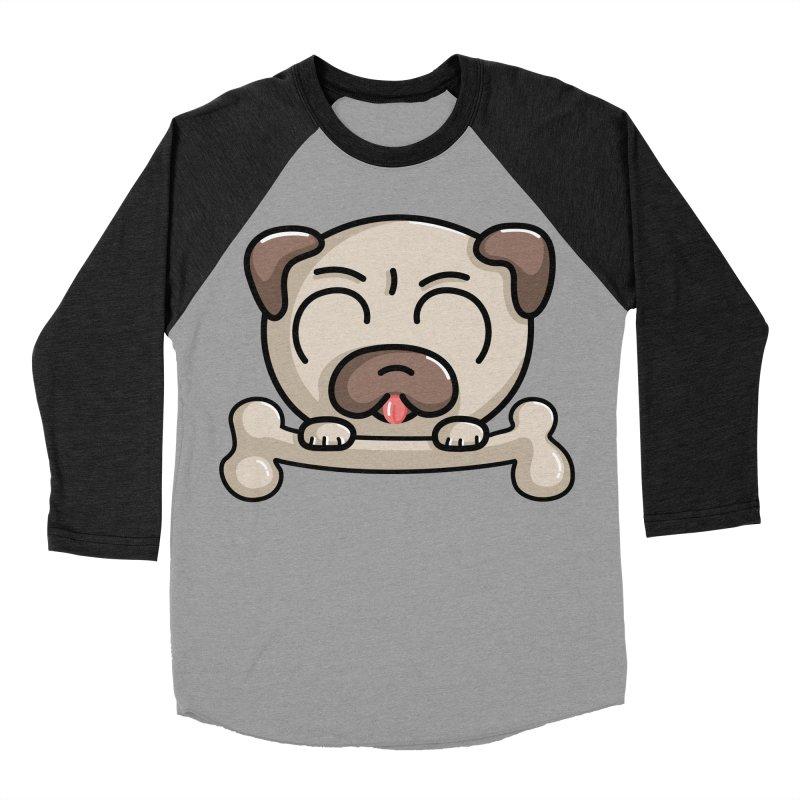 Kawaii Cute Pug Dog Women's Baseball Triblend Longsleeve T-Shirt by Flaming Imp's Artist Shop