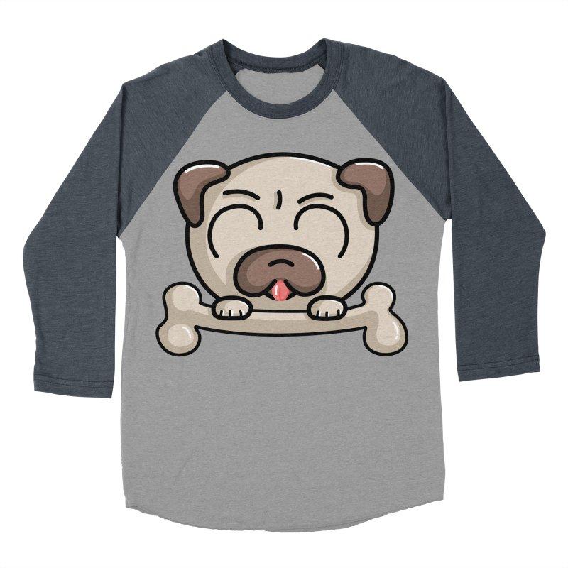 Kawaii Cute Pug Dog Men's Baseball Triblend T-Shirt by Flaming Imp's Artist Shop