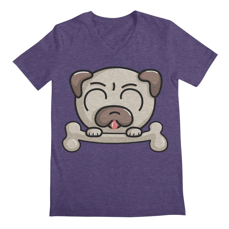 Kawaii Cute Pug Dog Men's V-Neck by Flaming Imp's Artist Shop
