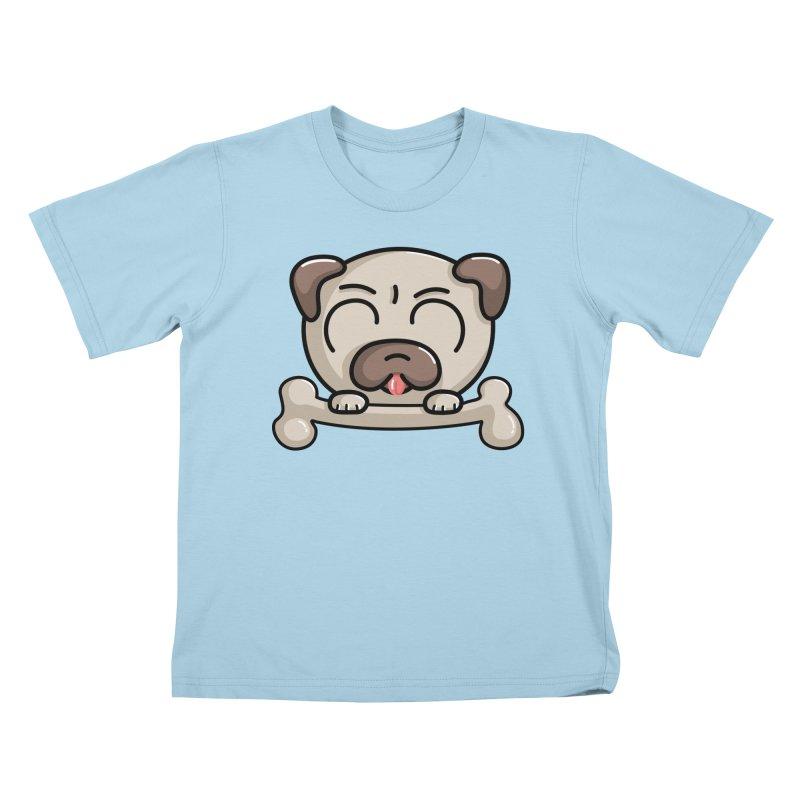 Kawaii Cute Pug Dog Kids T-Shirt by Flaming Imp's Artist Shop