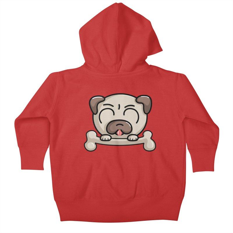 Kawaii Cute Pug Dog Kids Baby Zip-Up Hoody by Flaming Imp's Artist Shop