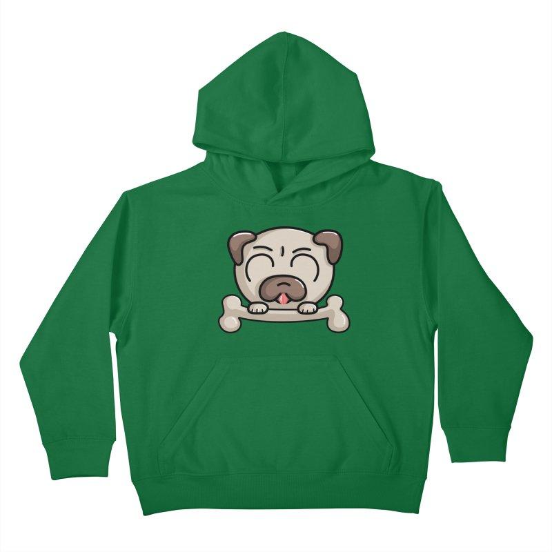 Kawaii Cute Pug Dog Kids Pullover Hoody by Flaming Imp's Artist Shop