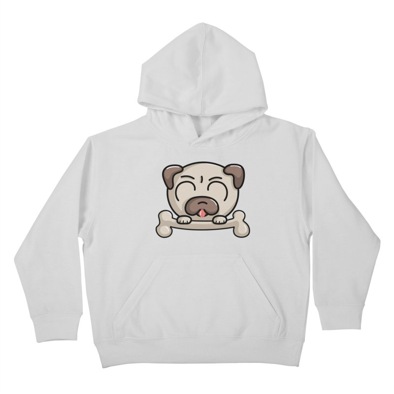 Kawaii Cute Pug Dog Kids Pullover Hoody by Flaming Imp's Artist Shop