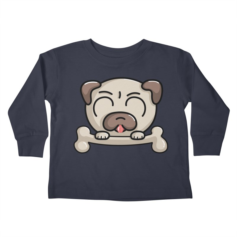 Kawaii Cute Pug Dog Kids Toddler Longsleeve T-Shirt by Flaming Imp's Artist Shop