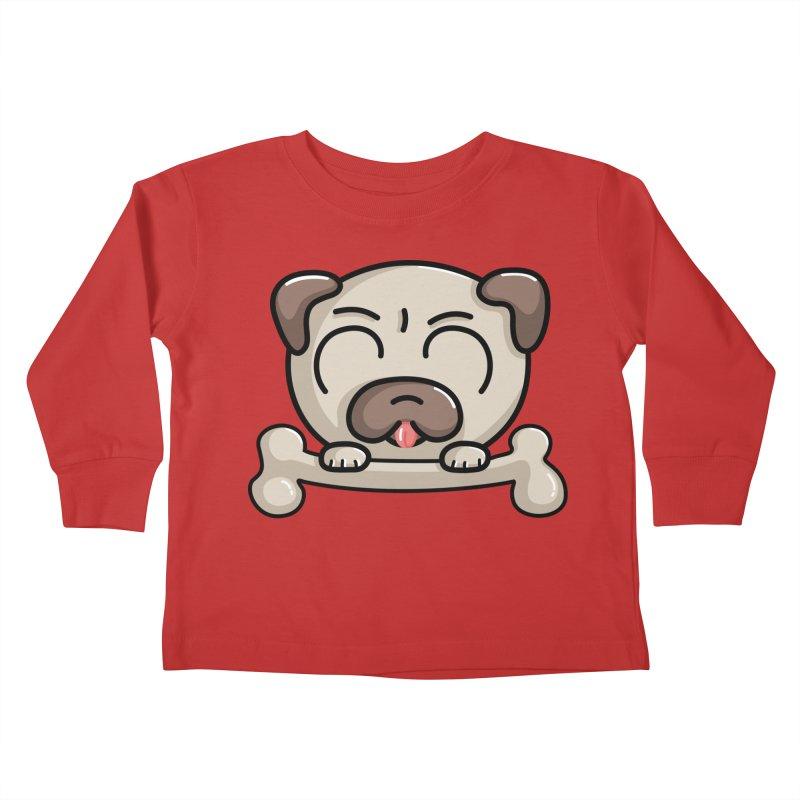 Kawaii Cute Pug Dog Kids Toddler Longsleeve T-Shirt by Flaming Imp's Artist Shop