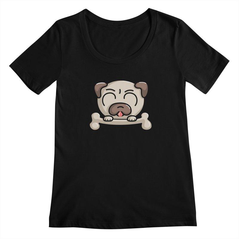 Kawaii Cute Pug Dog Women's Scoopneck by Flaming Imp's Artist Shop