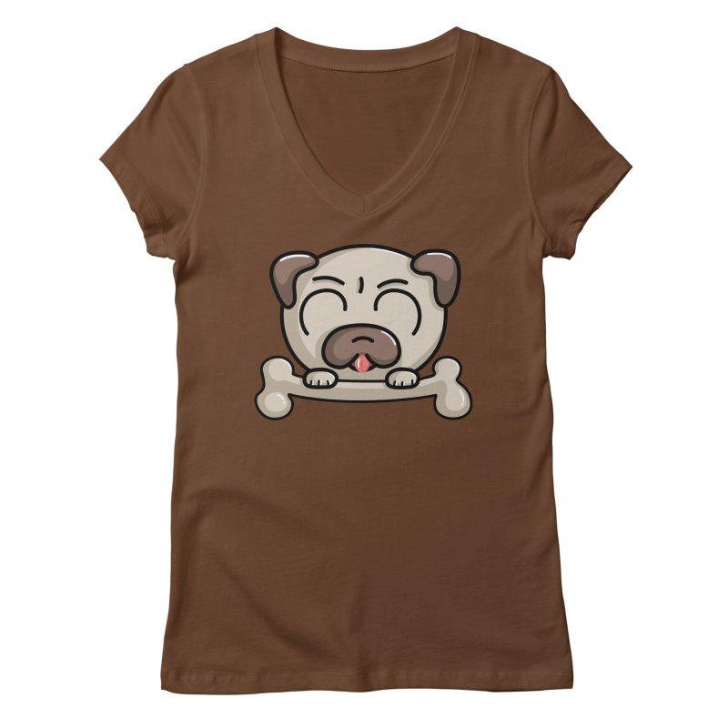 Kawaii Cute Pug Dog Women's V-Neck by Flaming Imp's Artist Shop