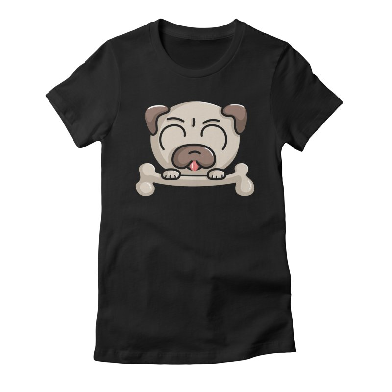 Kawaii Cute Pug Dog Women's Fitted T-Shirt by Flaming Imp's Artist Shop