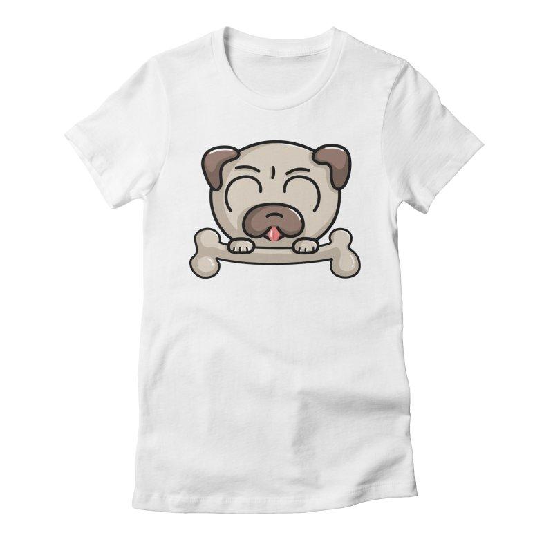 Kawaii Cute Pug Dog Women's Fitted T-Shirt by Flaming Imp's Artist Shop