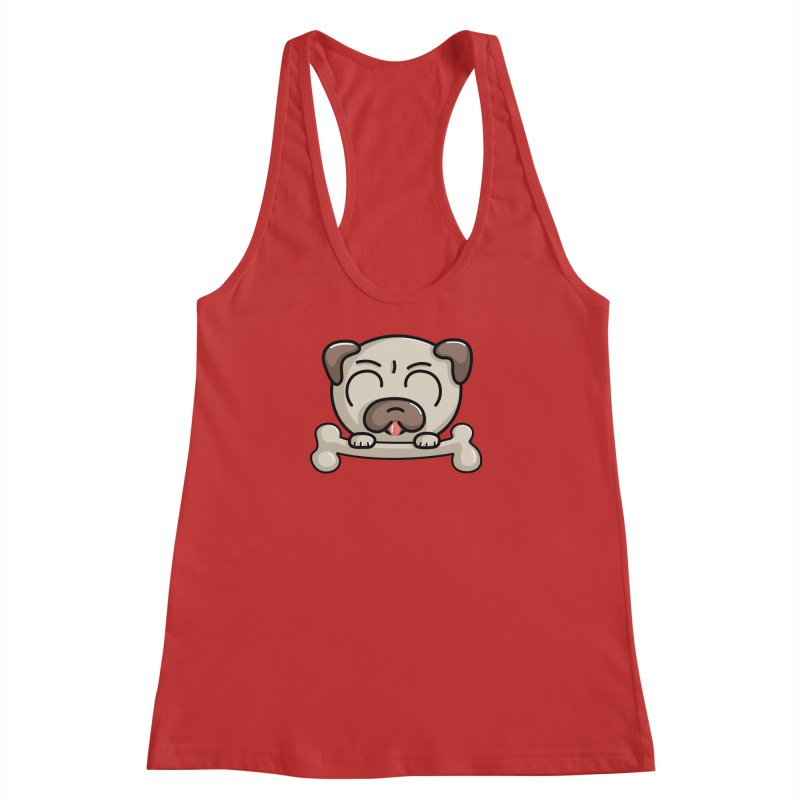 Kawaii Cute Pug Dog Women's Racerback Tank by Flaming Imp's Artist Shop