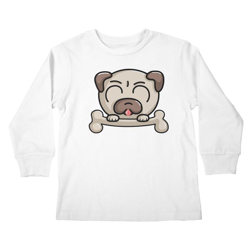 Kawaii Cute Pug Dog Kids Longsleeve T-Shirt by Flaming Imp's Artist Shop