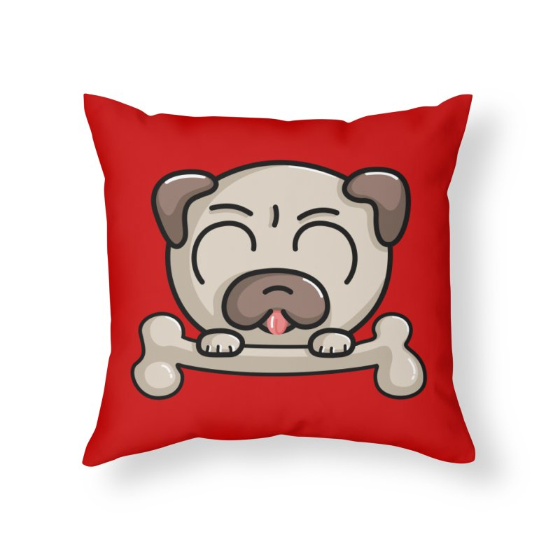 Kawaii Cute Pug Dog Home Throw Pillow by Flaming Imp's Artist Shop