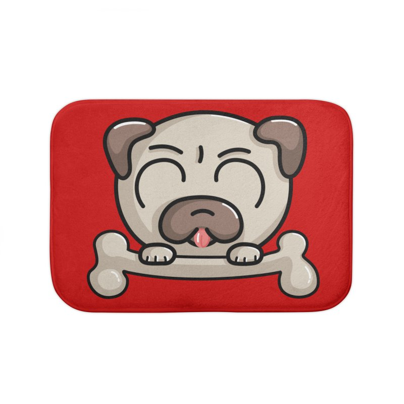 Kawaii Cute Pug Dog Home Bath Mat by Flaming Imp's Artist Shop