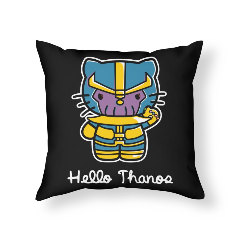 Hello Thanos Home Throw Pillow by Flaming Imp's Artist Shop