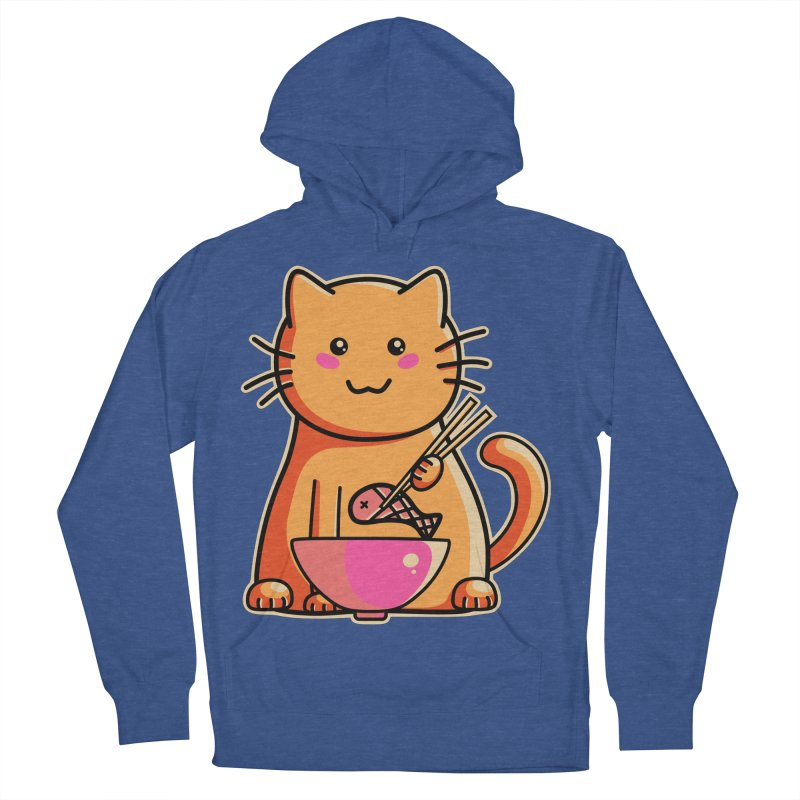 Cute cat eating fish with chopsticks Women's French Terry Pullover Hoody by Flaming Imp's Artist Shop
