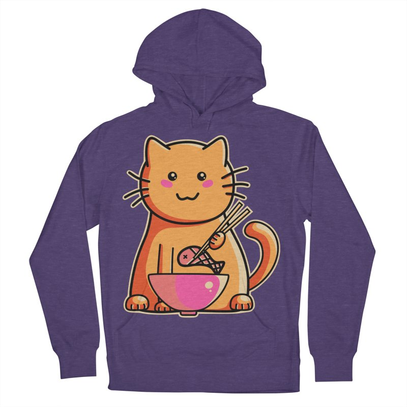 Cute cat eating fish with chopsticks Men's Pullover Hoody by Flaming Imp's Artist Shop