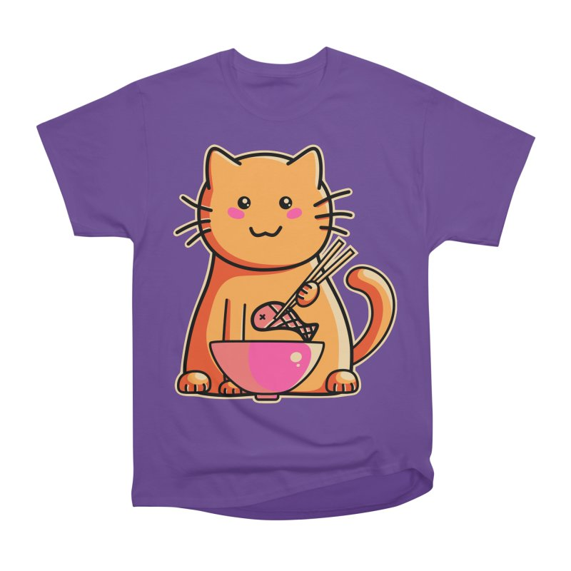 Cute cat eating fish with chopsticks Women's Heavyweight Unisex T-Shirt by Flaming Imp's Artist Shop