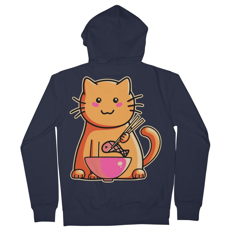 Cute cat eating fish with chopsticks Women's Zip-Up Hoody by Flaming Imp's Artist Shop