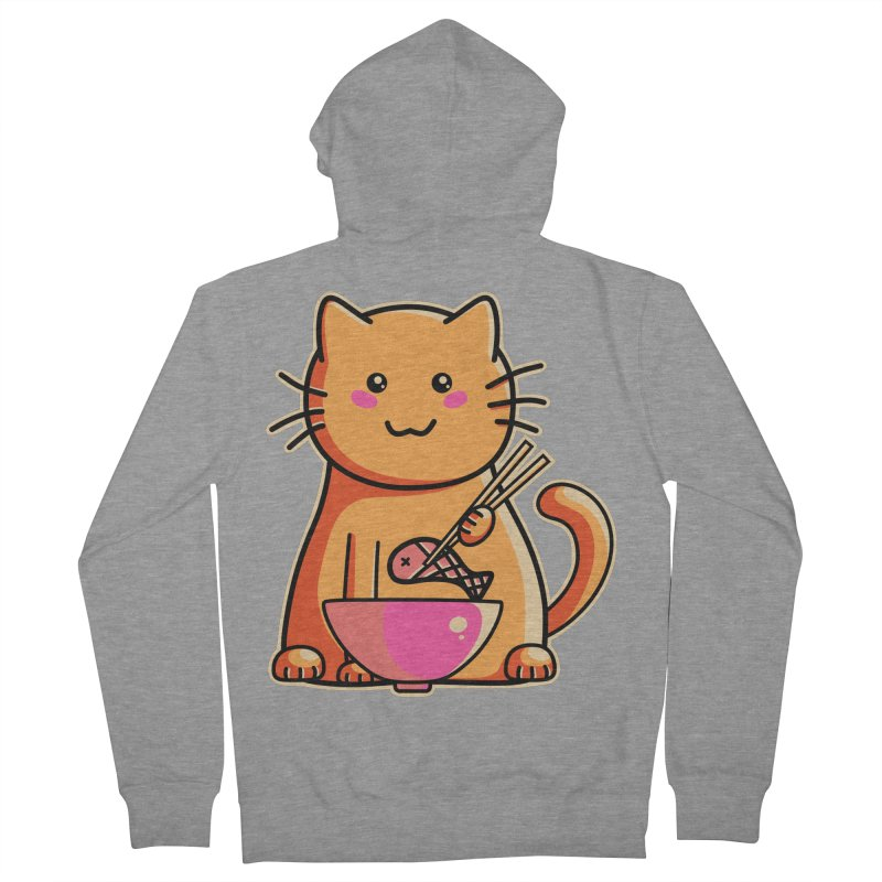 Cute cat eating fish with chopsticks Men's Zip-Up Hoody by Flaming Imp's Artist Shop