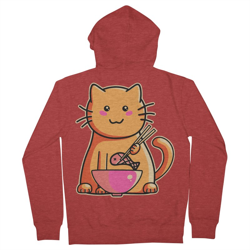 Cute cat eating fish with chopsticks Men's French Terry Zip-Up Hoody by Flaming Imp's Artist Shop
