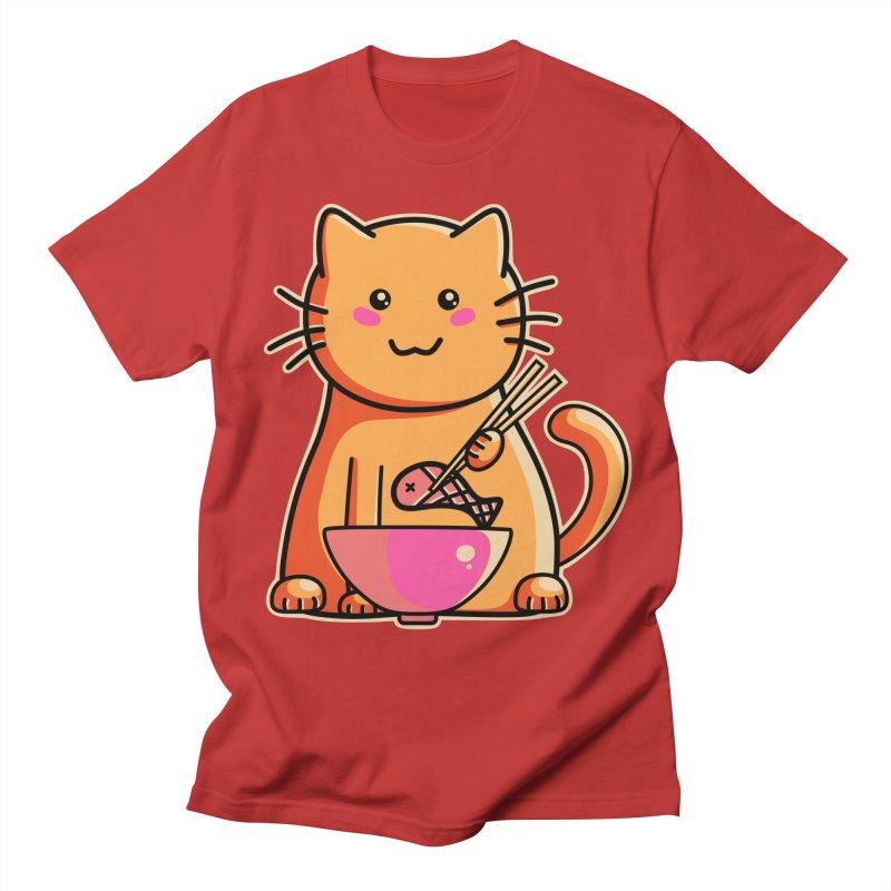 Cute cat eating fish with chopsticks Women's Unisex T-Shirt by Flaming Imp's Artist Shop