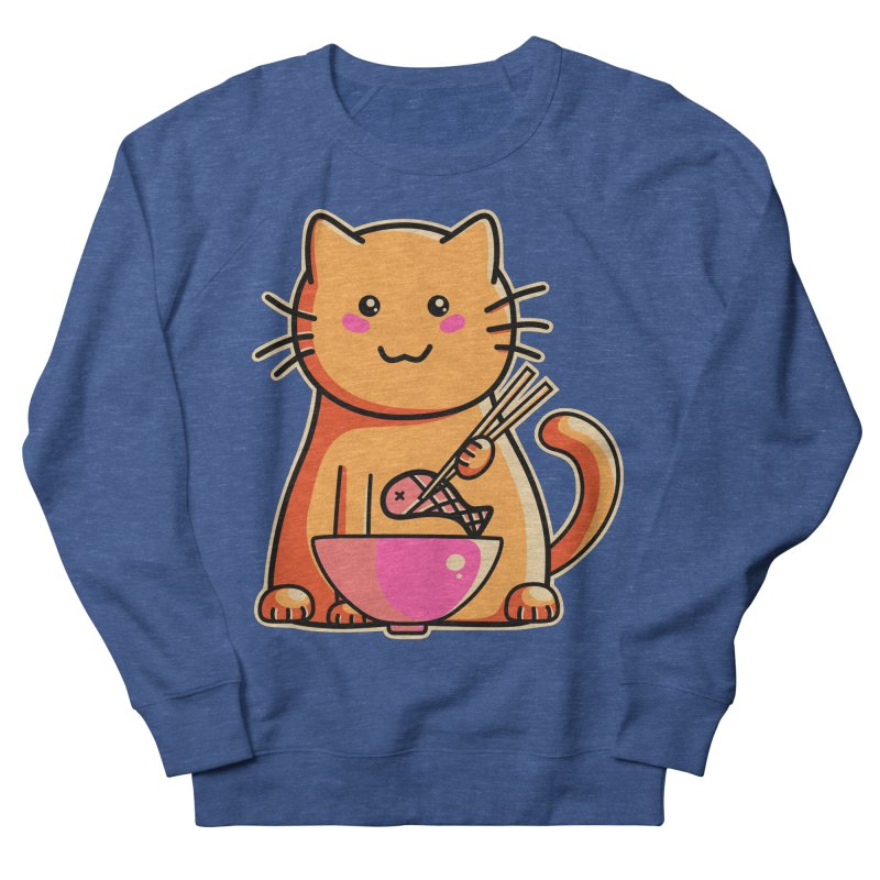 Cute cat eating fish with chopsticks Women's Sweatshirt by Flaming Imp's Artist Shop