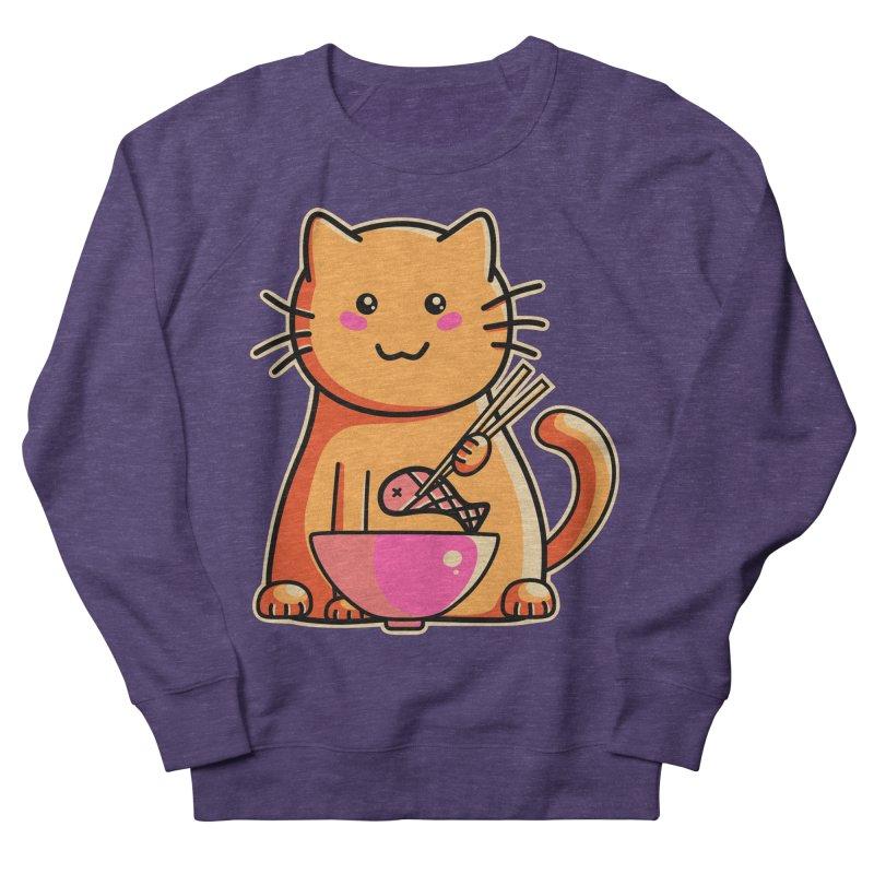 Cute cat eating fish with chopsticks Men's Sweatshirt by Flaming Imp's Artist Shop