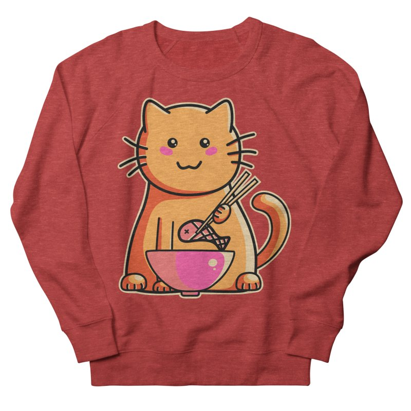 Cute cat eating fish with chopsticks Men's French Terry Sweatshirt by Flaming Imp's Artist Shop